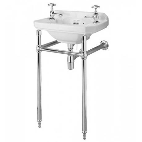 Bayswater Fitzroy 515mm Cloakroom Basin 2TH & Chrome Wash Stand
