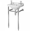 Bayswater Fitzroy 515mm 2TH Cloakroom Basin & Chrome Wash Stand profile small image view 1