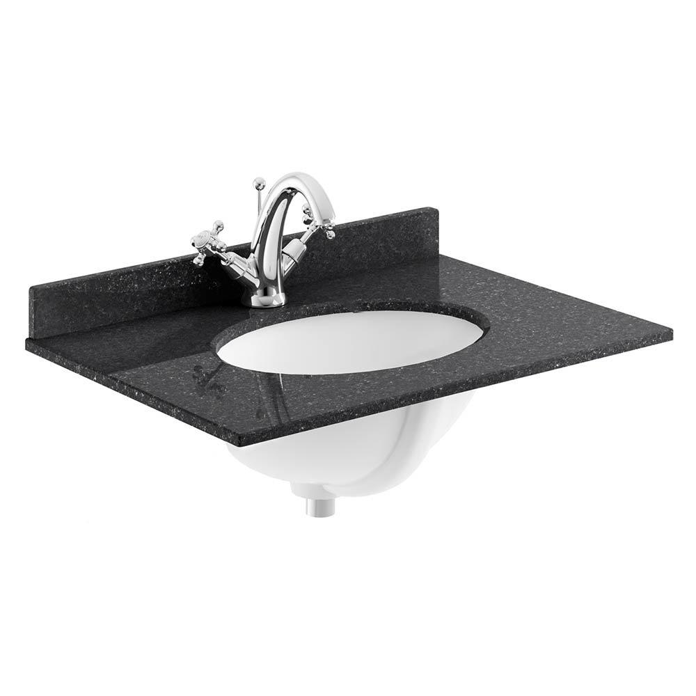 Bayswater 600mm 1TH Black Marble Single Bowl Basin Top