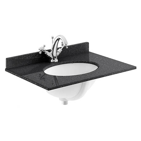 Bayswater 600mm 1TH Black Marble Single Bowl Basin Top