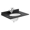 Bayswater 600mm 1TH Black Marble Single Bowl Basin Top profile small image view 1