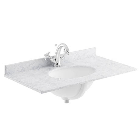 Bayswater 600mm 1TH White Marble Single Bowl Basin Top