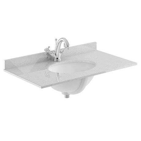 Bayswater 600mm 1TH Grey Marble Single Bowl Basin Top