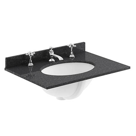 Bayswater 600mm 3TH Black Marble Single Bowl Basin Top