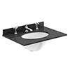 Bayswater 600mm 3TH Black Marble Single Bowl Basin Top profile small image view 1
