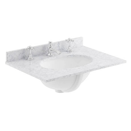 Bayswater 600mm 3TH White Marble Single Bowl Basin Top