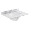 Bayswater 600mm 3TH White Marble Single Bowl Basin Top profile small image view 1