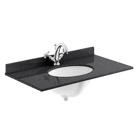 Bayswater 800mm 1TH Black Marble Single Bowl Basin Top