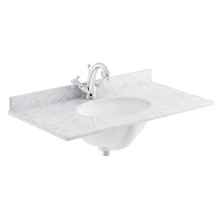 Bayswater 800mm 1TH White Marble Single Bowl Basin Top