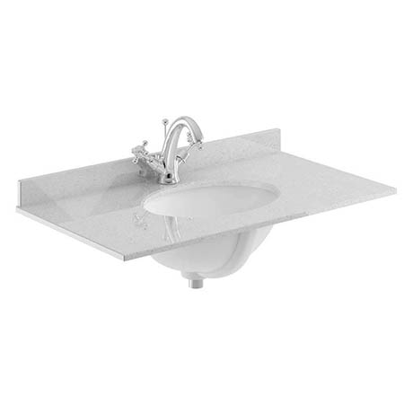 Bayswater 800mm 1TH Grey Marble Single Bowl Basin Top