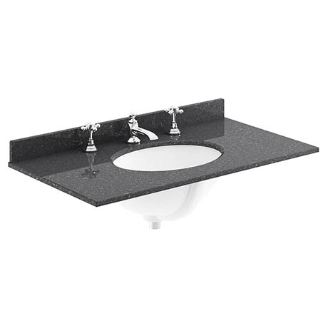 Bayswater 800mm 3TH Black Marble Single Bowl Basin Top
