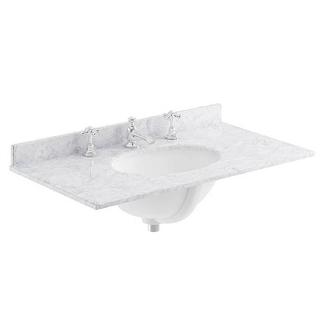Bayswater 800mm 3TH White Marble Single Bowl Basin Top