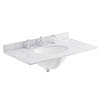Bayswater 800mm 3TH White Marble Single Bowl Basin Top profile small image view 1
