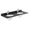 Bayswater 1200mm 1TH Black Marble Double Bowl Basin Top Small Image