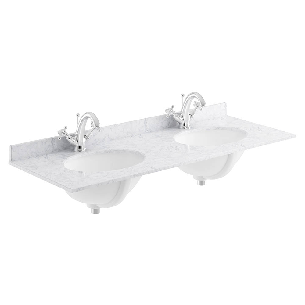 Bayswater 1200mm 1TH White Marble Double Bowl Basin Top