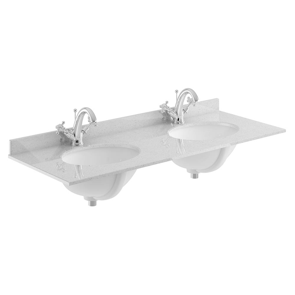 Bayswater 1200mm 1TH Grey Marble Double Bowl Basin Top