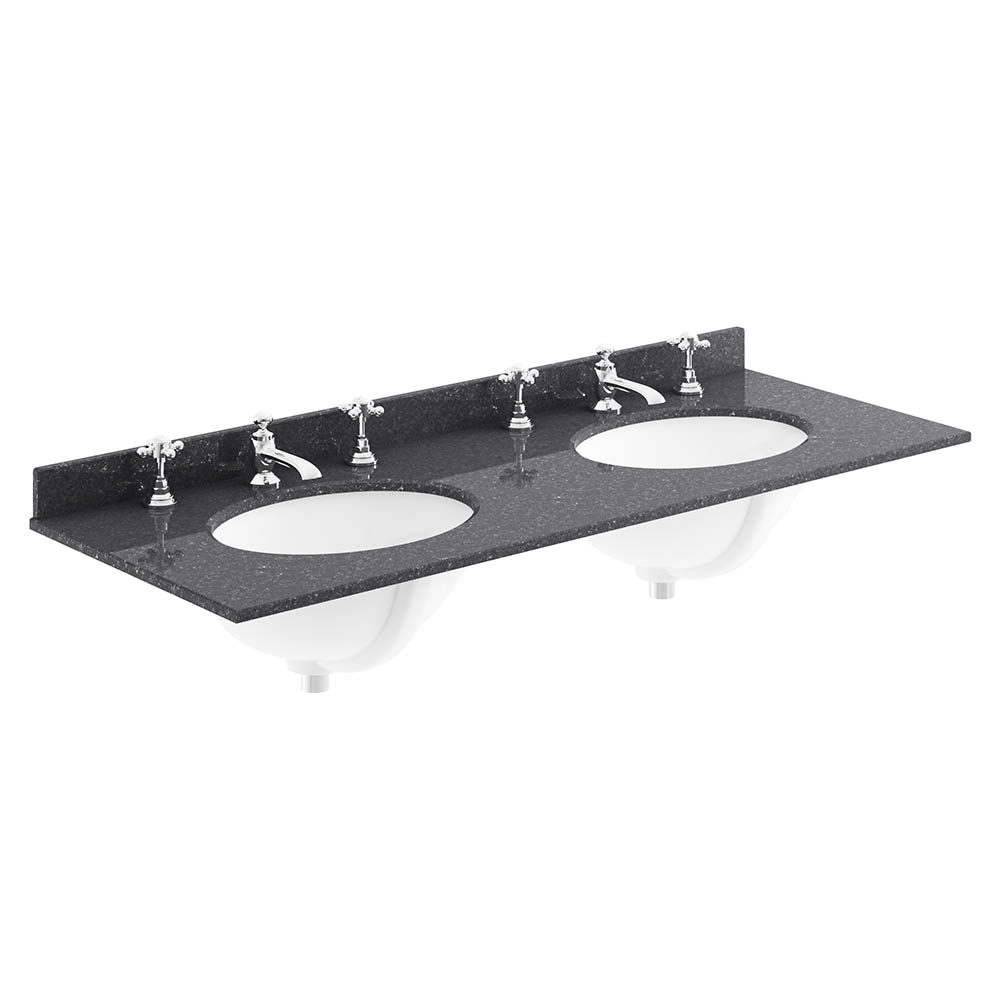 Bayswater 1200mm 3TH Black Marble Double Bowl Basin Top