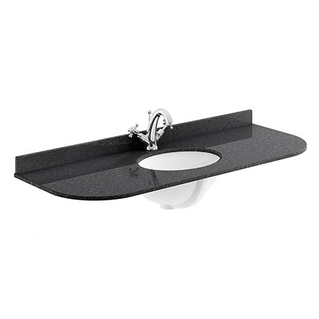 Bayswater 1200mm 1TH Curved Black Marble Double Bowl Basin Top