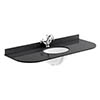 Bayswater 1200mm 1TH Curved Black Marble Single Bowl Basin Top profile small image view 1