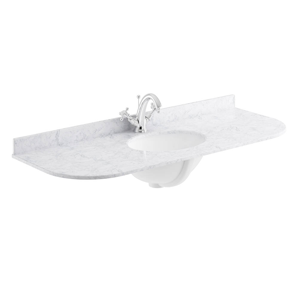 Bayswater 1200mm 1TH Curved White Marble Single Bowl Basin Top