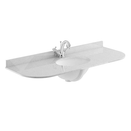 Bayswater 1200mm 1TH Curved Grey Marble Single Bowl Basin Top