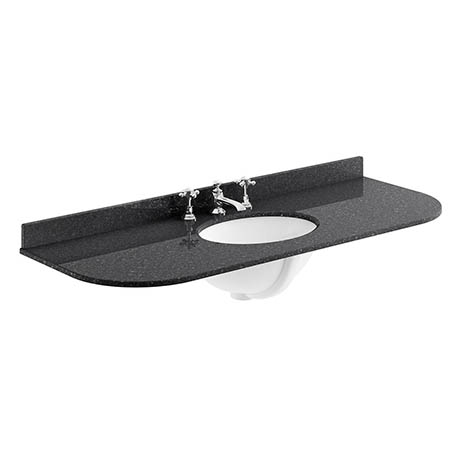 Bayswater 1200mm 3TH Curved Black Marble Single Bowl Basin Top