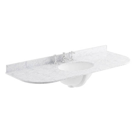 Bayswater 1200mm 3TH Curved White Marble Single Bowl Basin Top