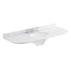Bayswater 1200mm 3TH Curved White Marble Single Bowl Basin Top profile small image view 1