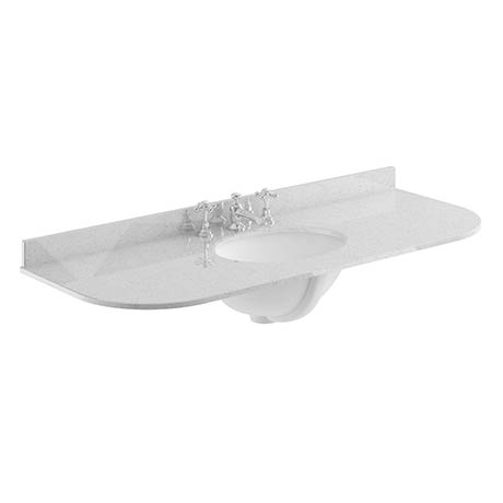 Bayswater 1200mm 3TH Curved Grey Marble Single Bowl Basin Top