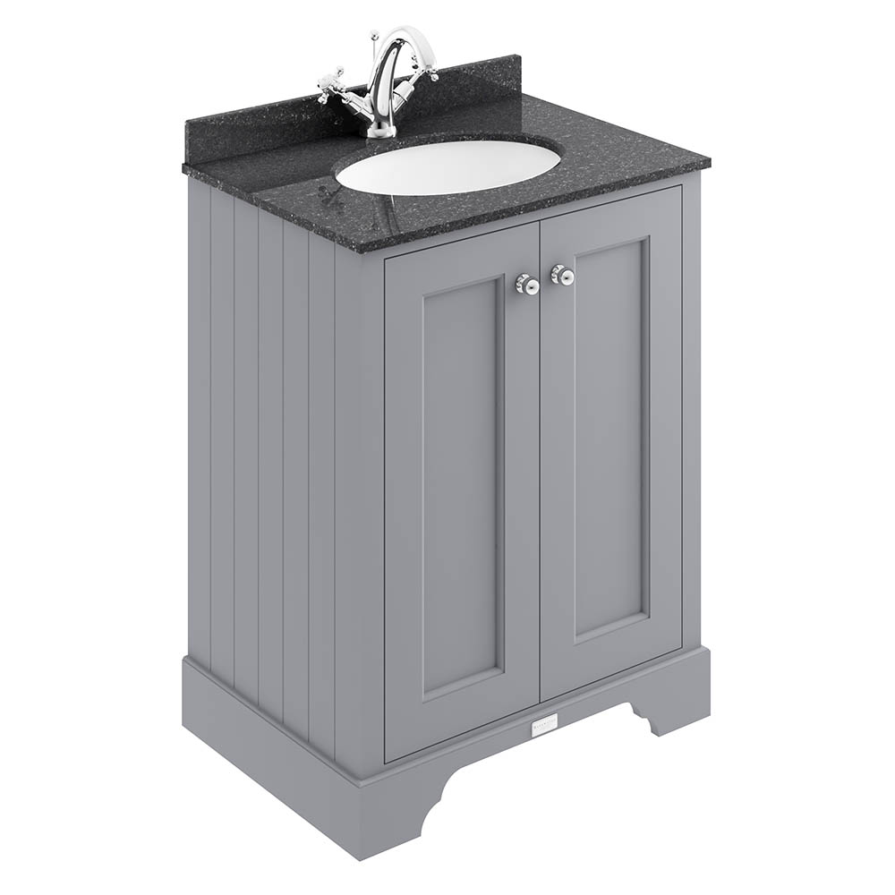 Bayswater Plummett Grey 600mm 2 Door Vanity Unit & 1TH Black Marble Basin Top