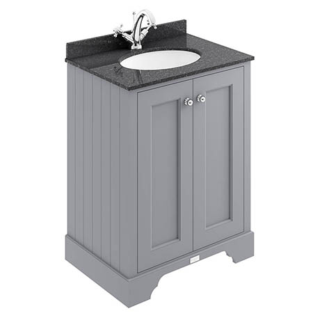 Bayswater Plummett Grey 600mm 2 Door Vanity Unit & 1TH Black Marble Basin Top