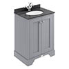 Bayswater Plummett Grey 600mm 2 Door Vanity Unit & 1TH Black Marble Basin Top profile small image view 1