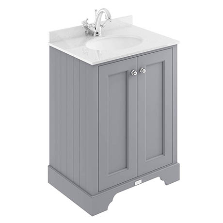 Bayswater Plummett Grey 600mm 2 Door Vanity Unit & 1TH White Marble Basin Top