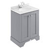 Bayswater Plummett Grey 600mm 2 Door Vanity Unit & 1TH White Marble Basin Top profile small image view 1
