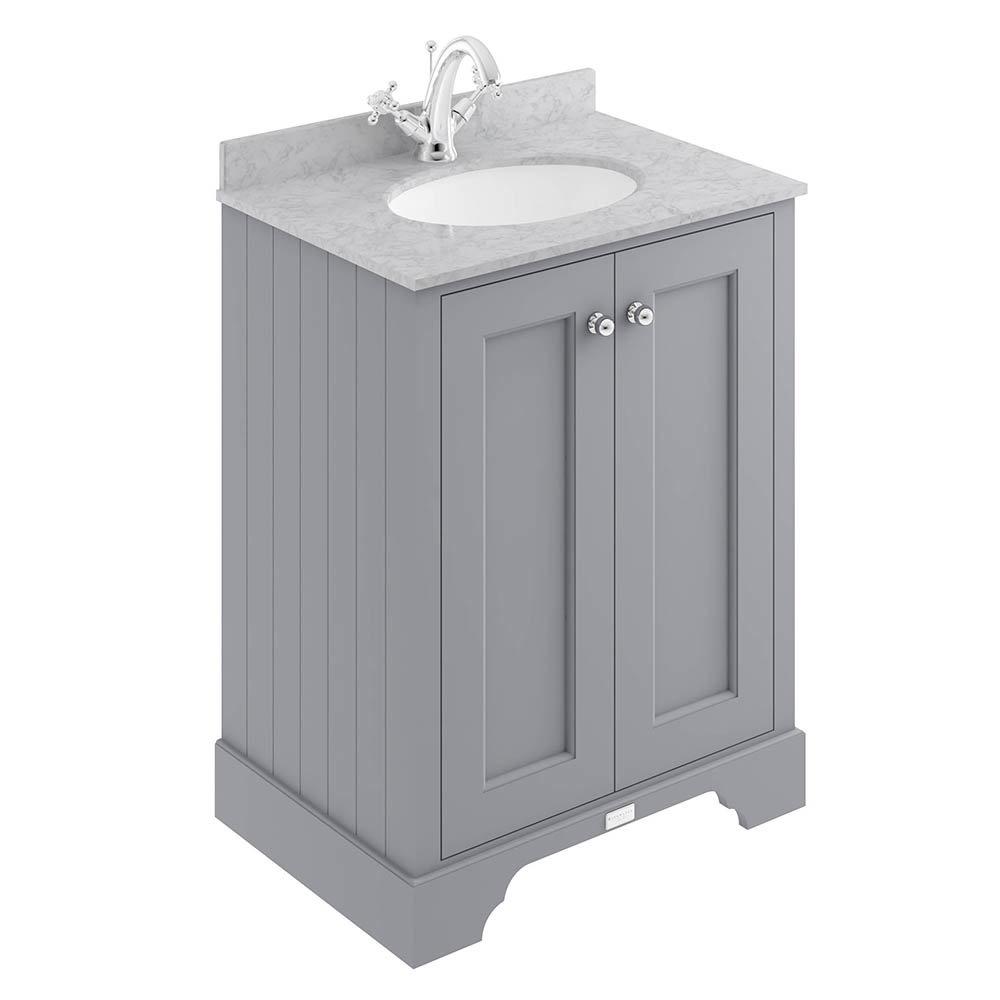 Bayswater Plummett Grey 600mm 2 Door Vanity Unit & 1TH Grey Marble Basin Top
