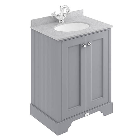 Bayswater Plummett Grey 600mm 2 Door Vanity Unit & 1TH Grey Marble Basin Top