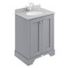 Bayswater Plummett Grey 600mm 2 Door Vanity Unit & 1TH Grey Marble Basin Top profile small image view 1
