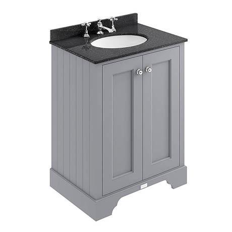 Bayswater Plummett Grey 600mm 2 Door Vanity Unit & 3TH Black Marble Basin Top