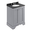Bayswater Plummett Grey 600mm 2 Door Vanity Unit & 3TH Black Marble Basin Top profile small image view 1