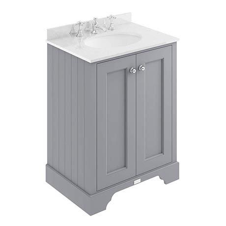 Bayswater Plummett Grey 600mm 2 Door Vanity Unit & 3TH White Marble Basin Top