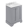 Bayswater Plummett Grey 600mm 2 Door Vanity Unit & 3TH White Marble Basin Top profile small image view 1