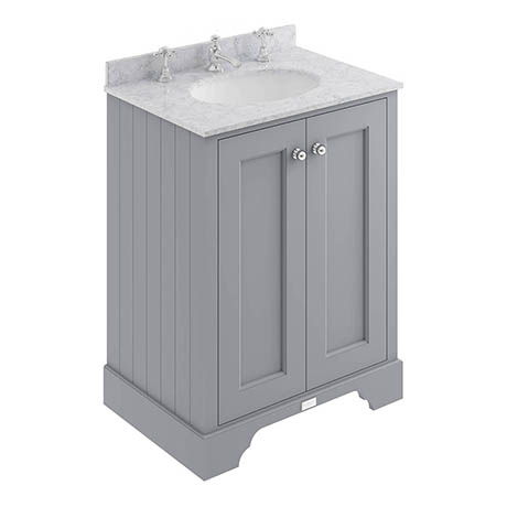 Bayswater Plummett Grey 600mm 2 Door Vanity Unit & 3TH Grey Marble Basin Top