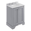 Bayswater Plummett Grey 600mm 2 Door Vanity Unit & 3TH Grey Marble Basin Top profile small image view 1