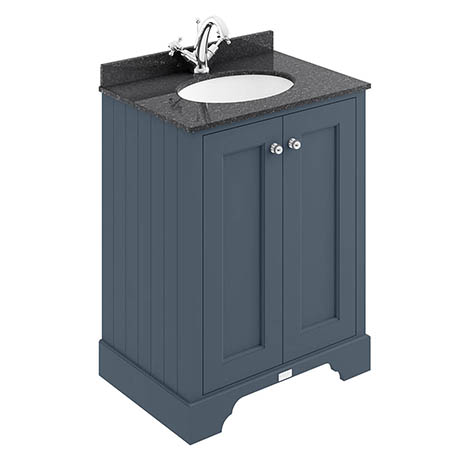 Bayswater Stiffkey Blue 600mm 2 Door Vanity Unit & 1TH Black Marble Basin Top