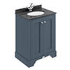 Bayswater Stiffkey Blue 600mm 2 Door Vanity Unit & 1TH Black Marble Basin Top profile small image view 1
