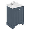 Bayswater Stiffkey Blue 600mm 2 Door Vanity Unit & 1TH White Marble Basin Top profile small image view 1