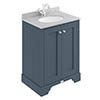 Bayswater Stiffkey Blue 600mm 2 Door Vanity Unit & 1TH Grey Marble Basin Top profile small image view 1