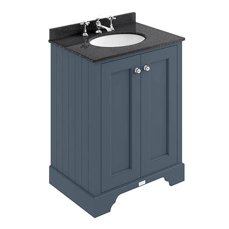 Bayswater Stiffkey Blue 600mm 2 Door Vanity Unit & 3TH Black Marble Basin Top
