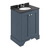 Bayswater Stiffkey Blue 600mm 2 Door Vanity Unit & 3TH Black Marble Basin Top profile small image view 1