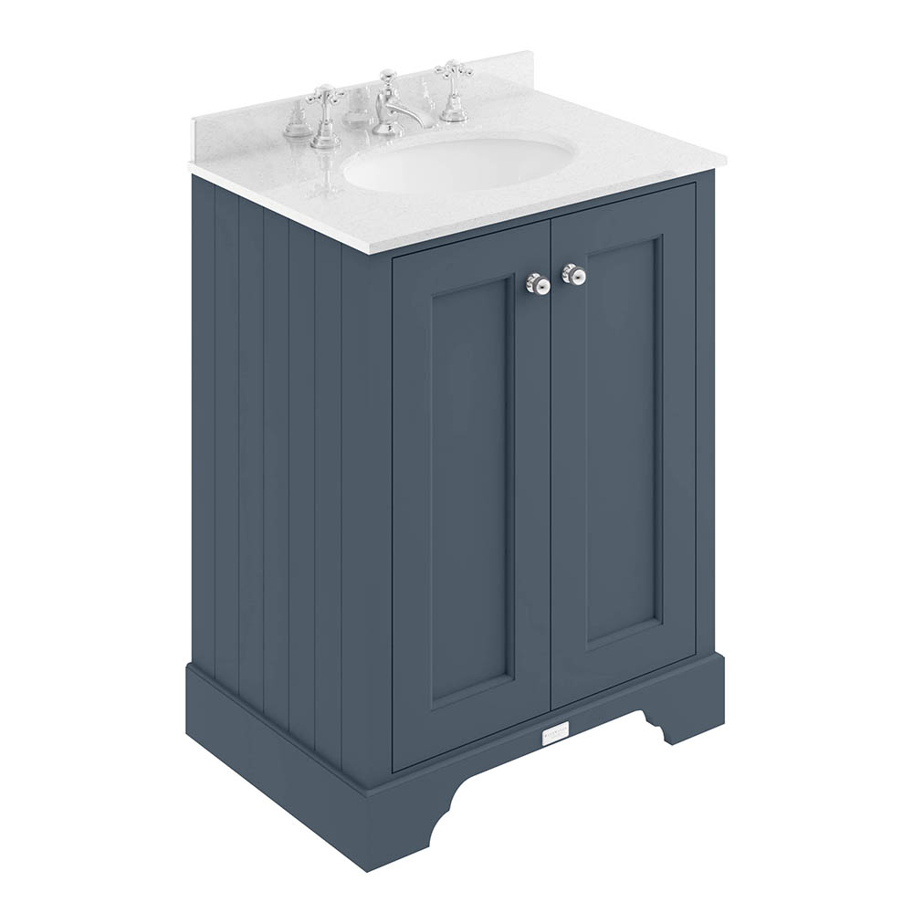 Bayswater Stiffkey Blue 600mm 2 Door Vanity Unit & 3TH White Marble Basin Top